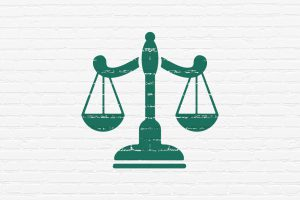 Law concept: Painted green Scales icon on White Brick wall background